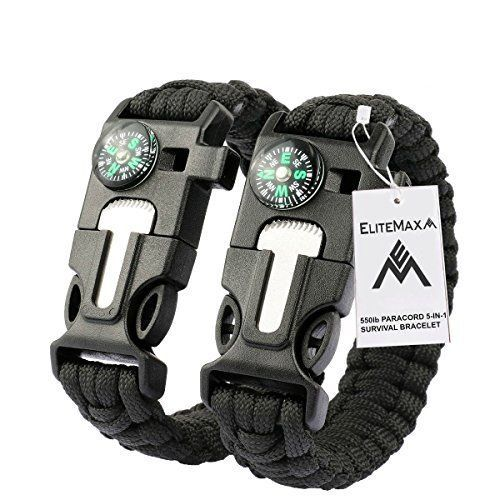 Survival Paracord Bracelet Kit Whistle Flint Fire Starter Gear Compass Camping  #EliteMax