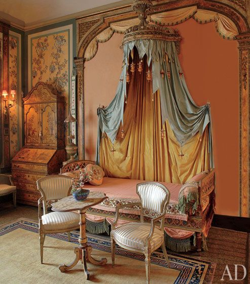 The ''Cathay'' guest room is named for an archaic term for China. Silent movie star Lilian Gish stayed here when she visited Vizcaya in 1917 - Vizcaya Museum in Miami, Florida. Photo by David Almeida. via Architectural Digest