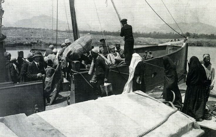 Durrës, Albania: Muslim refugees boarding a boat, July 1914.(Marquis di San Giuliano Photo Collection)