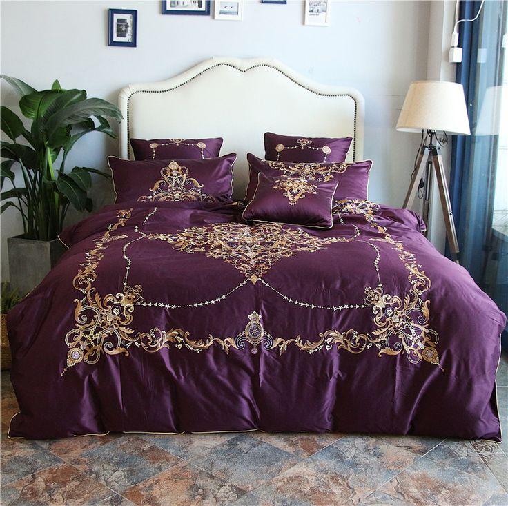 Purple Blue Luxury Mandala Boho Bedding Set Egyptian