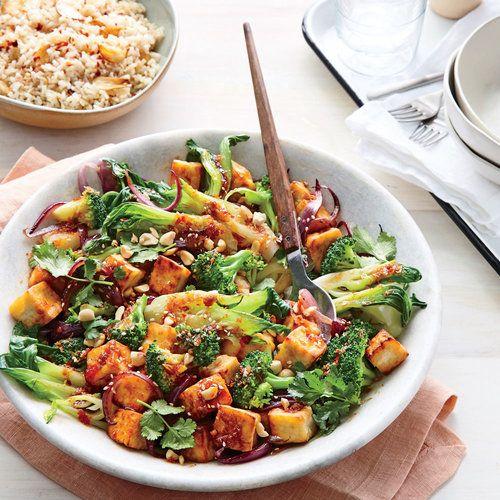 Seared Tofu with Sweet Chili Sauce and Broccoli | Sweet chili sauce has less heat than Sriracha. A bit of sugar balances its vinegar punch. | Cooking Light