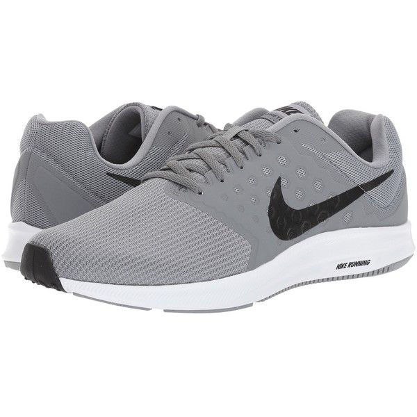 Nike Downshifter 7 (Stealth/Black/Cool Grey/White) Men's Running Shoes (190 BRL) ❤ liked on Polyvore featuring men's fashion, men's shoes, men's athletic shoes, mens gray shoes, mens black running shoes, nike mens athletic shoes, mens athletic shoes and mens wide shoes