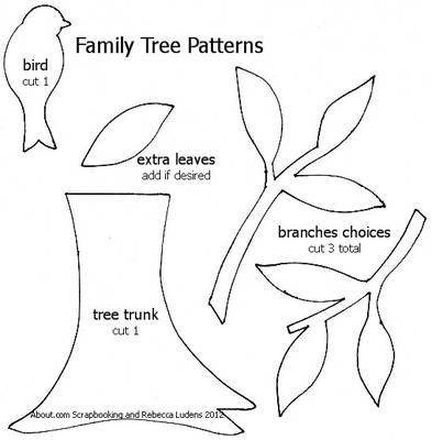 Family Tree patterns: bird, branches, and tree trunk / piece together, be creative