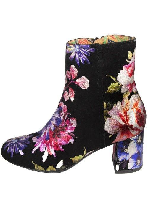 Miss L-Fire Jean Suede Laarsjes Floral Zwart boots black