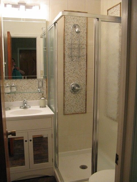 Small Layout with 3 4 corner shower  Should do pocket door14 best Small bath images on Pinterest   Bathroom ideas  . Small 3 Piece Bathroom Ideas. Home Design Ideas