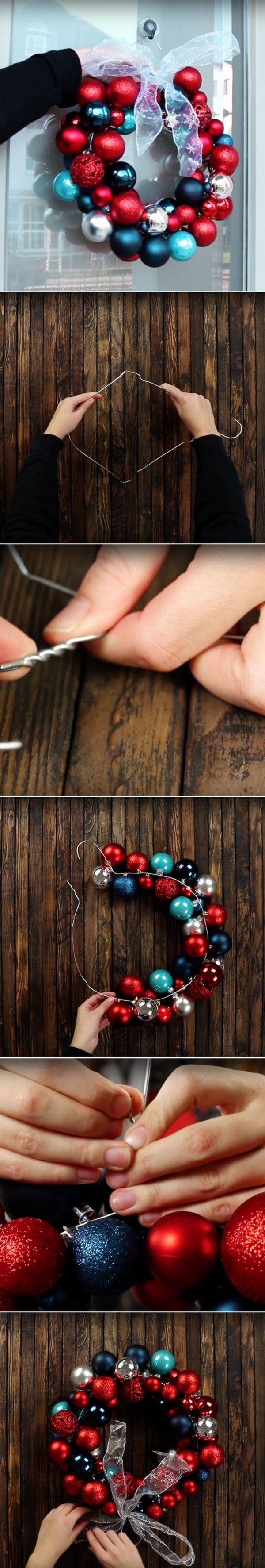 Fabriquer une couronne de Noël pour l'extérieur de la maison en utilisant un cintre et les anciennes boules de Noël (tuto en photos)