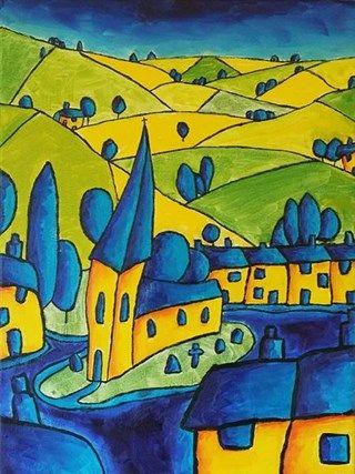 Devon Landscape with Church by Simon Bramble