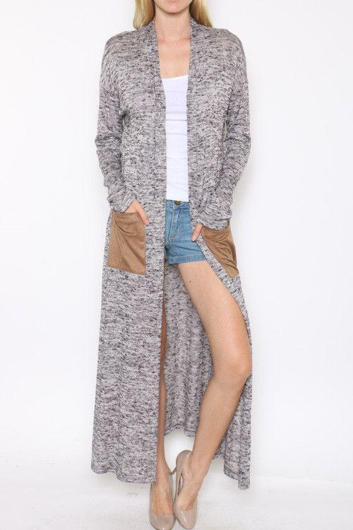 Suede Pocket Marled Long Sleeve Maxi Cardigan!