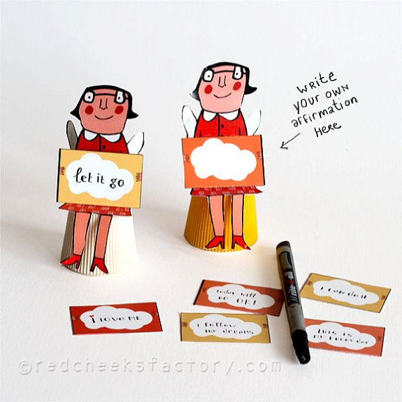 DIY 3D Affirmation Angela paper doll by RedCheeksFactory