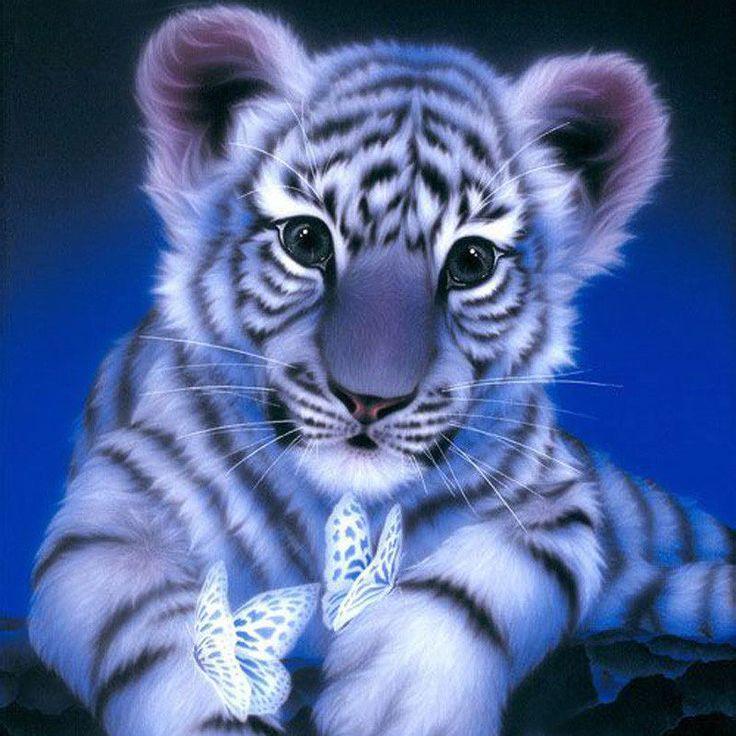 3d diy diamond embroidery painting animal cat tiger 20*20 см. #MOONCRESIN