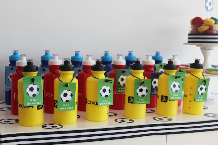 World Cup Soccer themed water bottles will add more fun to the game!