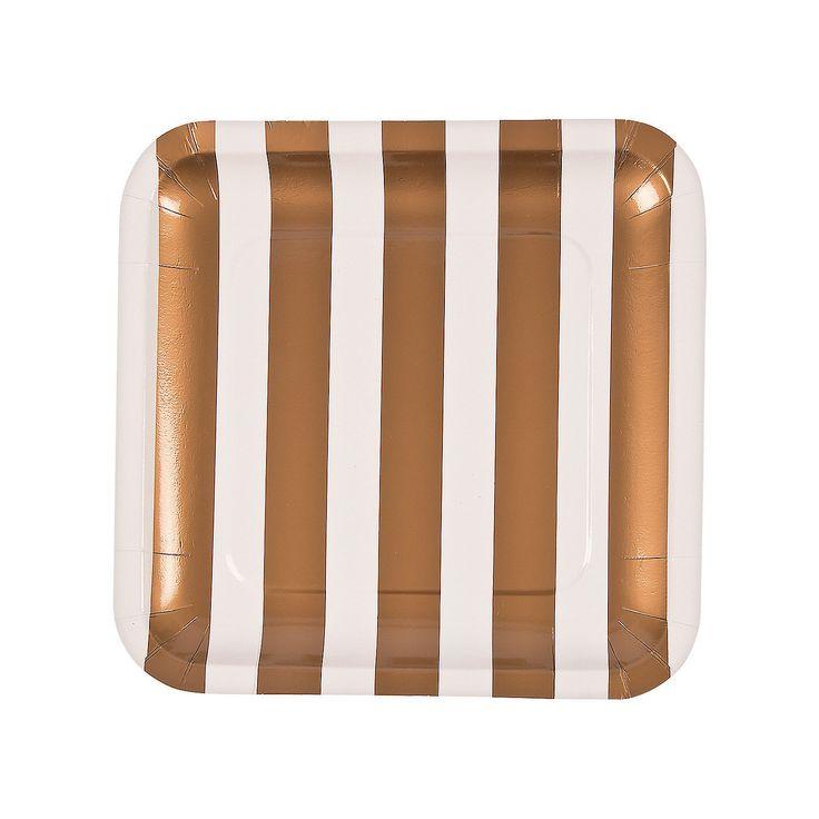 Gold & White Wedding Dinner Plates - OrientalTrading.com