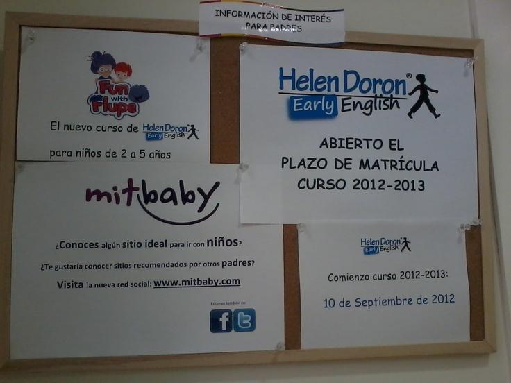 Nuestros amigos de Helen Doron Murcia Centro nos envían una foto del cartel de mitbaby en su centro.