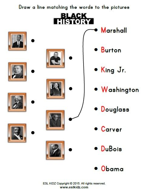 Matching activity for influential black men in history