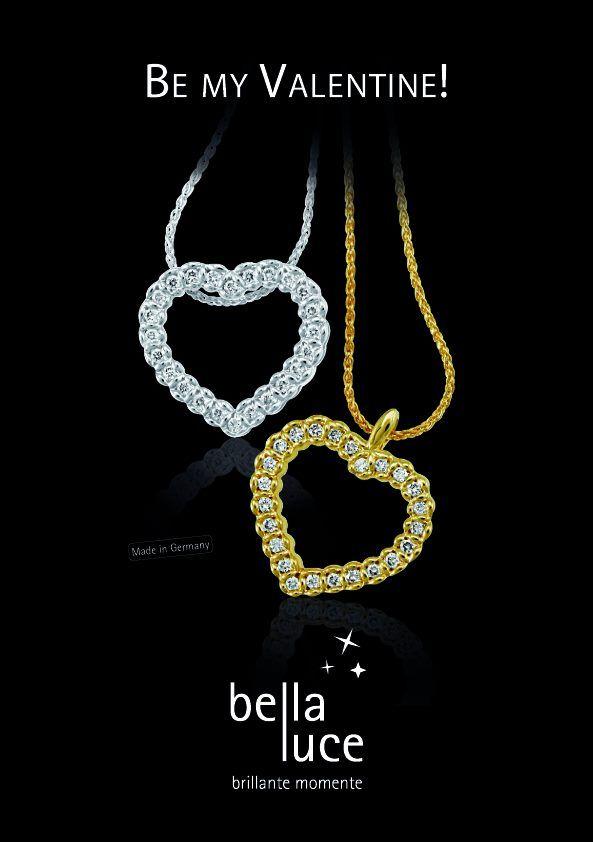 """""""Be my Valentine"""" - Schenken Sie Ihrer Liebsten zum Valentinstag wunderschönen Diamantschmuck von bellaluce.   Entdecken auch Sie die wunderschöne Welt der Diamanten - Ringe, Ketten und vieles mehr auf unserer Seite www.bellaluce.de  Bald ist es soweit, am 14. ist Valentinstag - der Tag der Liebenden. Zwei schöne Herzen die zusammen gehören.   #bellaluce #diamantschmuck #valentinstag #herzanhänger"""