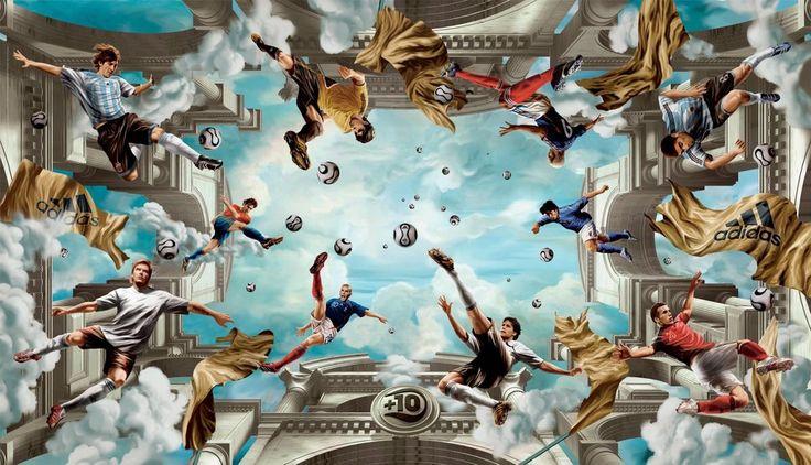 Football, football, adidas, beckham, messi, kaka, zidane, ballack, djibril Cissé, boules, nuages. ciel Wallpaper