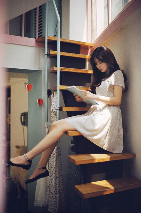 korean fashion - cute simple white dress with black flats