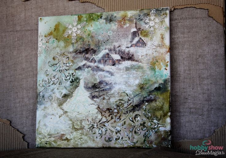 Canvas with decoupage and mix media