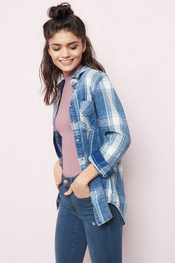 Top off your look with this must-have - Indigo Plaid Boyfriend Shirt