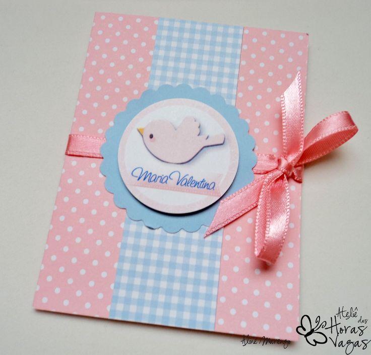 convite passarinho azul rosa aniversário 1 aninho