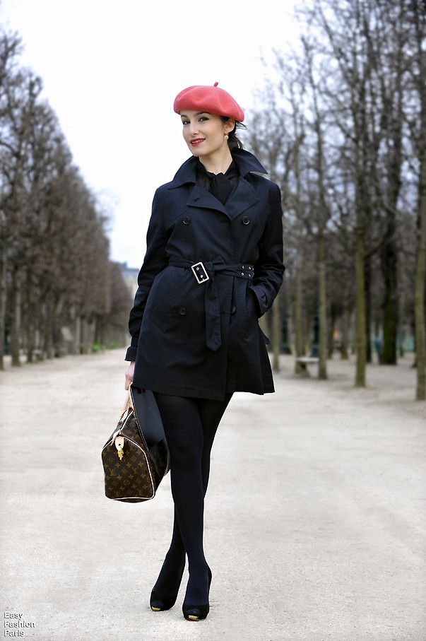 black coat black tight black pumps & a pop of color. Yes I think I will