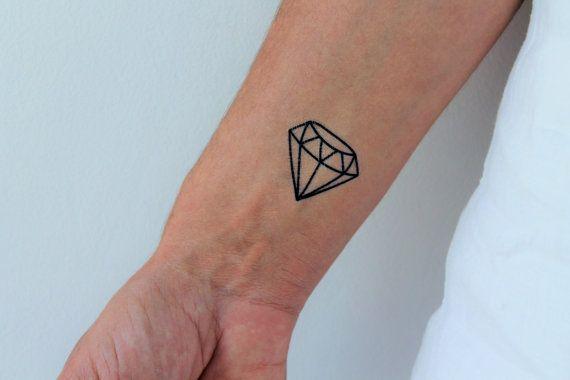 6 diamond temporary tattoos / geometric diamond by encredelicate