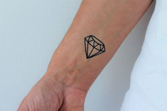 6 diamond temporary tattoos / geometric diamond by encredelicate