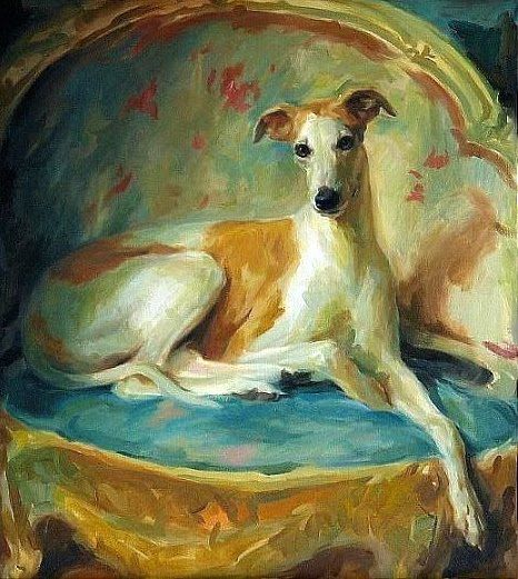 """Anthony Valentino Robinson: """"Diva in Repose"""". Difficult to gauge the size, but the mere title """"Diva in Repose"""" combined with the lithe body, supermodel gams, and elegant nose reminds me of my Italian Greyhound grand puppy, Principessa Isabella!"""