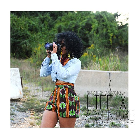 African Print Green, Burgundy, Orange, Black and White High Waist Shorts. Ankara Wax Fabric