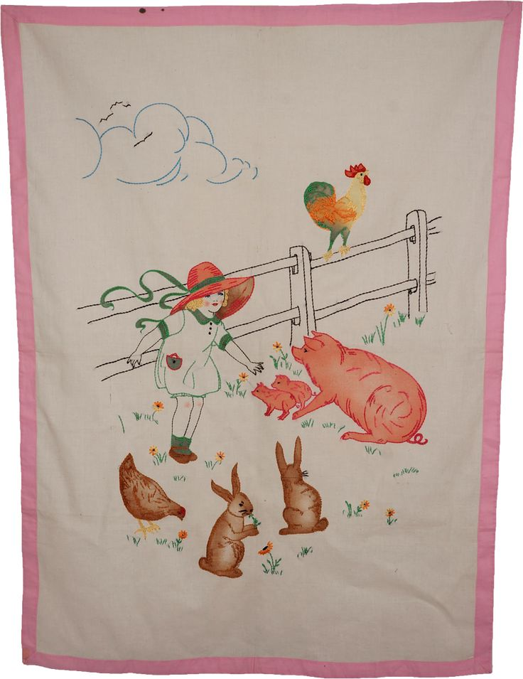 Vintage embroidery of farm animals wall hanging or crib