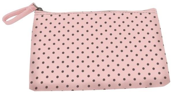 Pinkki, kuvioitu kosmetiikkalaukku, jossa on vuori ja kauniisti viimeistellyt yksityiskohdat.     7,90 € Cailap.fi