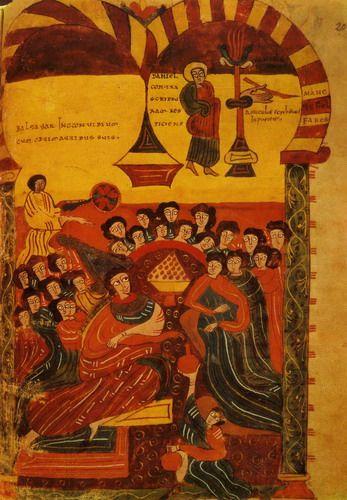 Beato de Liébana procedente de Valcavado, en la Biblioteca de la Universidad de Valladolid (Fol. 204). Copero real y sirviente abanicando a los reyes. (Foto Oronoz).