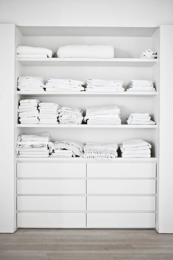 DIY Built-in closet. New take on old-fashioned linen press. <3