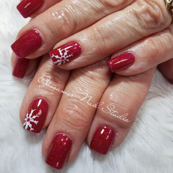 CND Shellac Nail Art by Gossamer Nail Studio, red, snowflake, Christmas