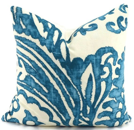turquoise blue u0026 off white coral design throw pillow cover schumacher linen fabric blue ikat pillow cover