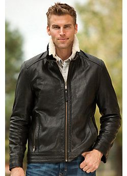Men's Nash Rugged Lambskin Leather Jacket with Shearling Collar