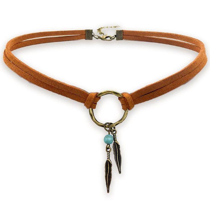 Halsreifen, Wildleder Choker Halskette für Frauen-Indianer Schmuck Böhmen …