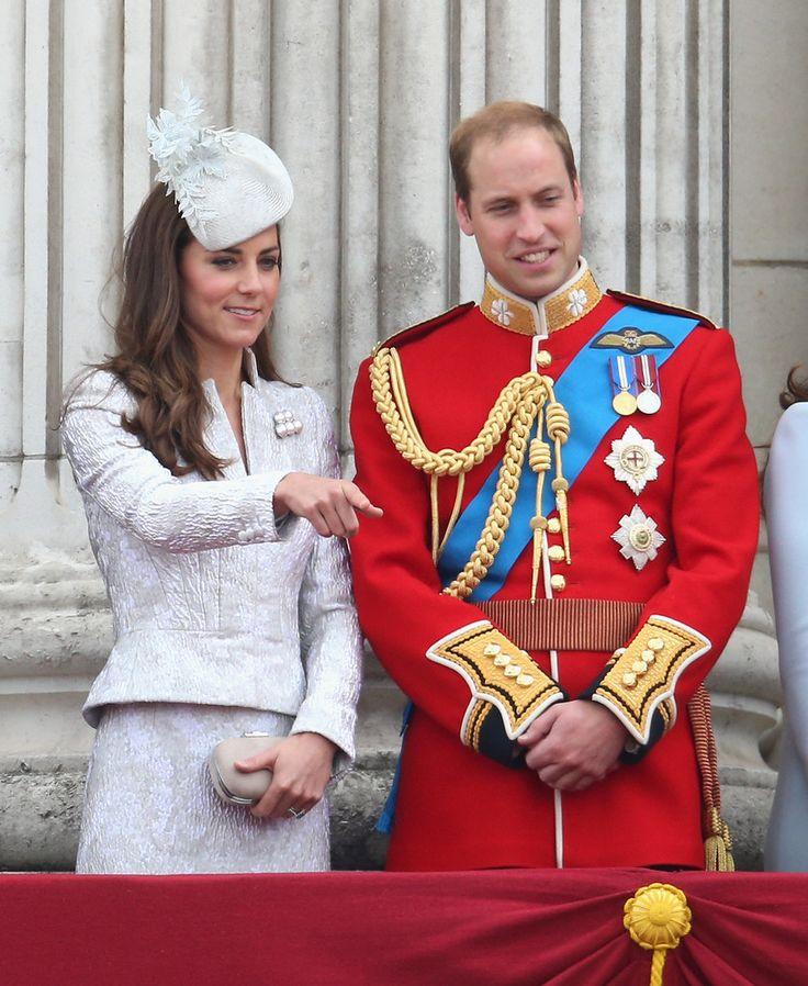 Catherine, Duchess of Cambridge and Prince William, Duke of Cambridge on the balcony during during Trooping the Colour - Queen Elizabeth II's Birthday Parade, at The Royal Horseguards on June 14, 2014 in London, England.