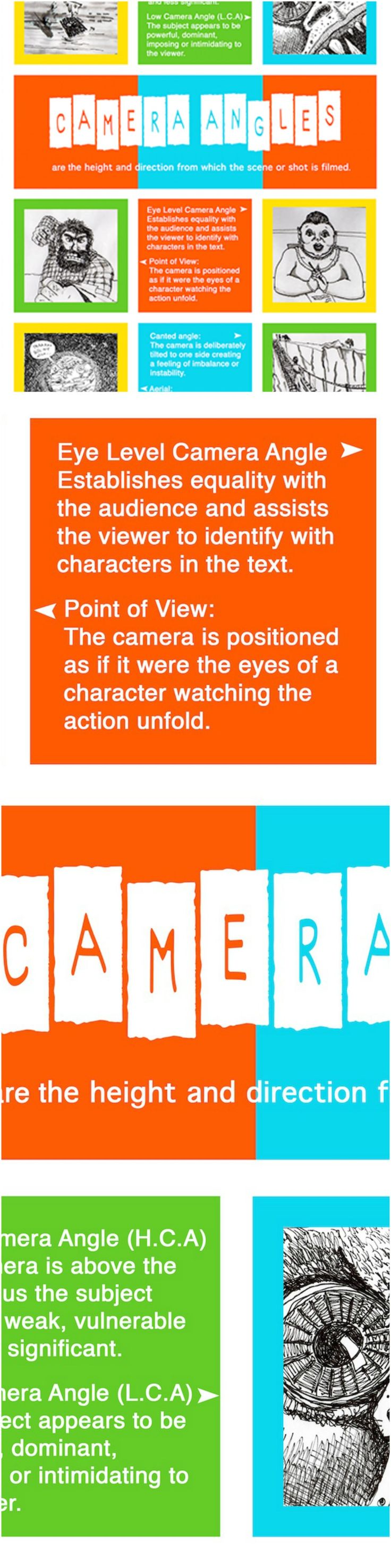 Camera Angles poster useful for teaching Media Literacy to junior, middle and senior high school students. Available in my TpT store along with Shot Sizes poster. Print out as a classroom wall poster or individual handouts. Available at: https://www.teacherspayteachers.com/Store/Media-And-English-Literacy