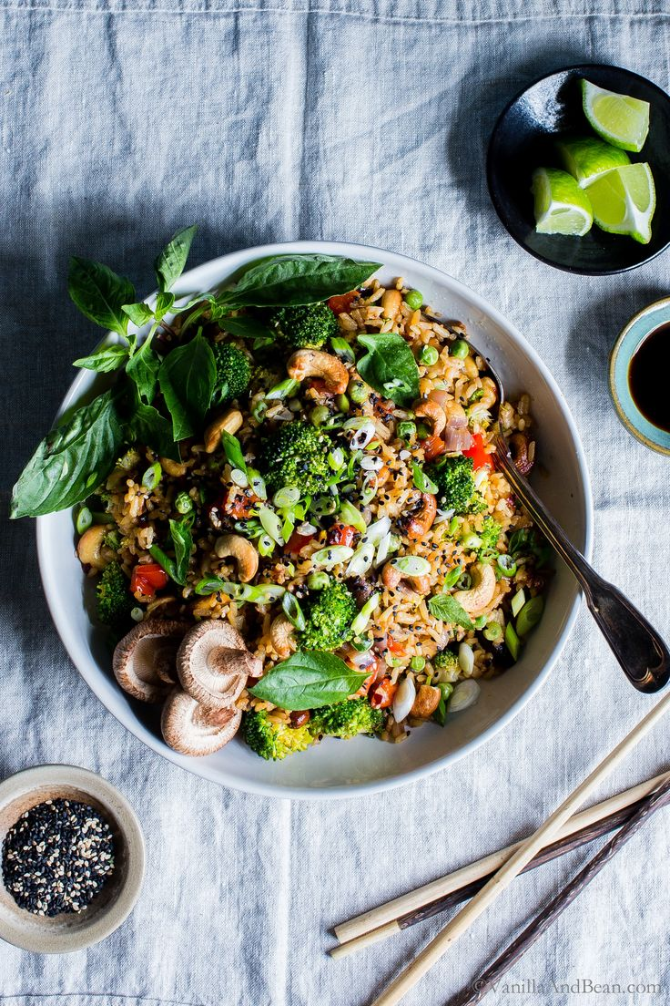Crunchy, seasonal veggies shine inThai Vegetable Fried Rice with Cashews. Prep ahead for meal planning and dinner comes together fast! Top with crunchy sesame seeds and green onions, for that authentic flavor. vegan or vegetarian + gluten free