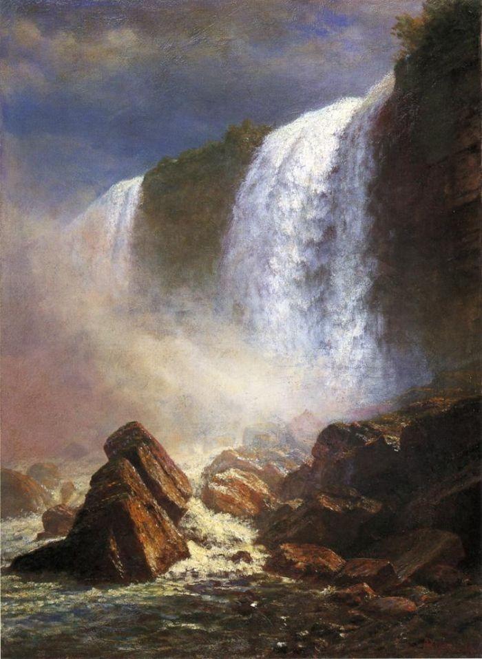 Falls of Niagara from Below by Albert Bierstadt #art