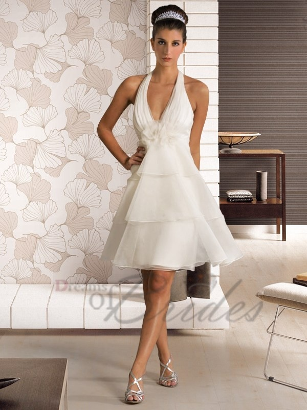 Short A Line Organza Casual Beach Wedding Dress