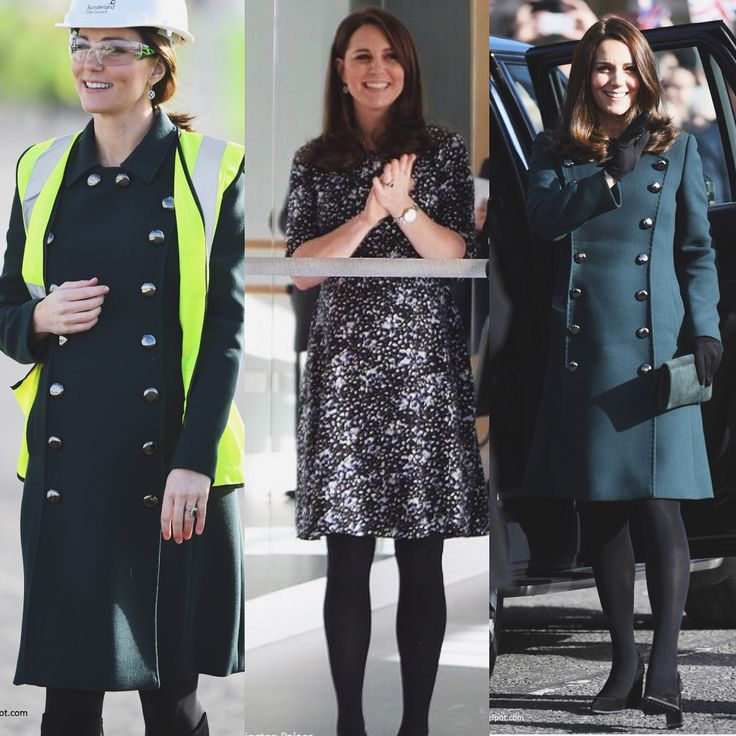 The Duchess debuted the new green Phaedra Woven Maternity dress Dolce & Gabbana military style coat with gold buttons today. The Duchess wore her Tod's pumps. Kate changed into her Russell & Bromley HalfNHalf boots at the bridge. Kate carried her green Emmy suede clutch. The Duchess accessorised with her Mappin & Webb Empress earrings. And her trusty Cartier Ballon Bleu watch.  via ✨ @padgram ✨(http://dl.padgram.com)