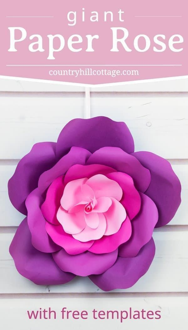 Learn To Craft Giant Paper Roses And Get A Free Printable Template For The Petals T Free Paper Flower Templates Giant Paper Flowers Template Giant Paper Roses