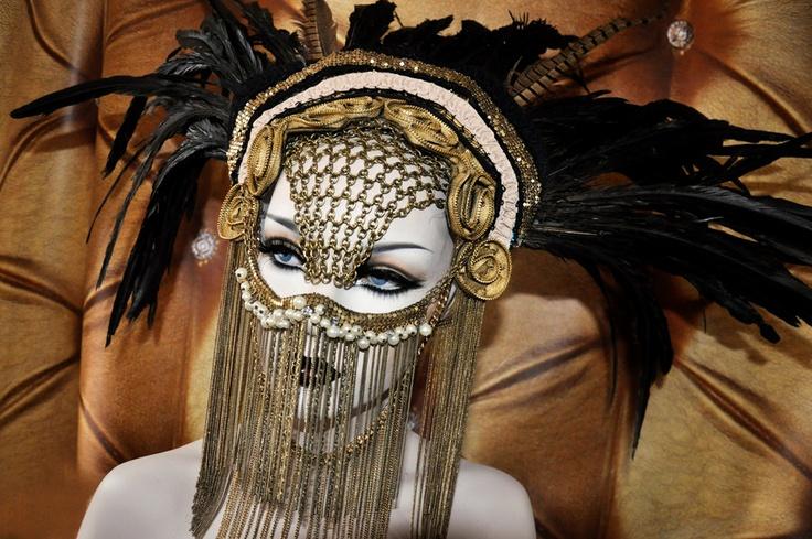 MADE TO ORDER Chain Face Sci-fi Fantasy Burning Man Zipper Black Gaga costume headdress feather headpiece wig cosplay gas mask steampunk. $399.00, via Etsy.