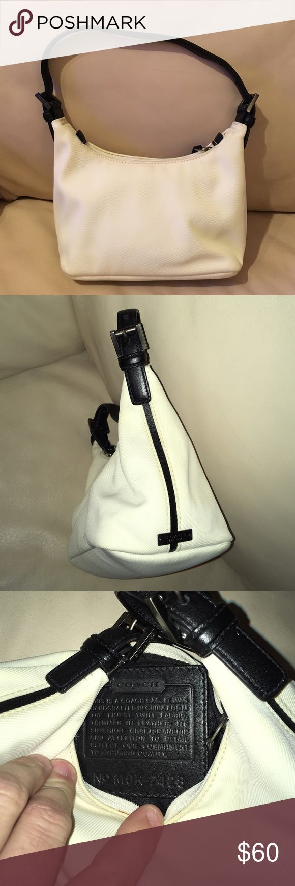 Coach purse New without tags Coach purse. Size approx 7 inches long, 10 inches high ( including straps). The color is a beige. Nice little purse for dinner parties. Clean never used. Smoke and pet free house Coach Bags Mini Bags
