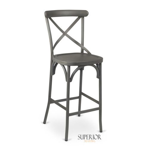 French Grey Metal Cross-Back Commercial Bar Stool with Metal Seat