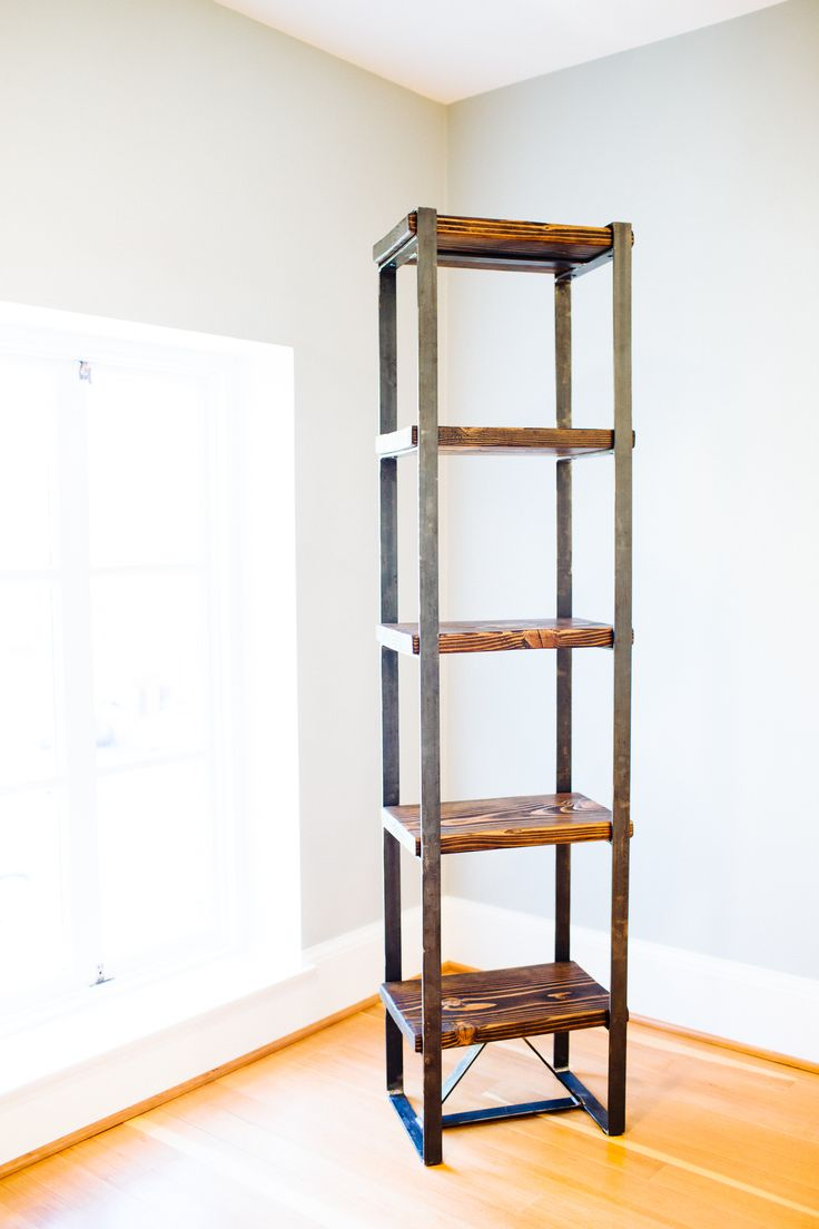 Tall Triangle Bookcase. Metal And Reclaimed Wood