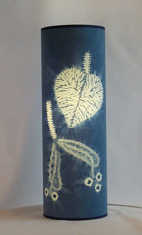 """Shibori lampshade indigo dyed designed and made by Townhill Studio. """"Lime"""" leaf and seed."""