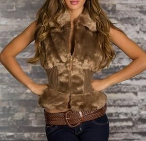 FLUFFY LUXURY BROWN VEST SOFIA